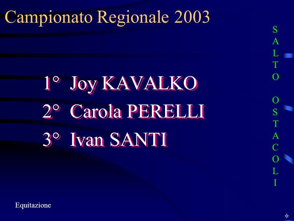 Campionato Regionale 2003 Equitazione 1° Joy KAVALKO 2° Carola PERELLI 3° Ivan SANTI 1° Joy KAVALKO 2° Carola PERELLI 3° Ivan SANTI SALTO OSTACOLISALTO OSTACOLI