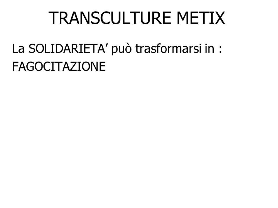TRANSCULTURE METIX La SOLIDARIETA può trasformarsi in : FAGOCITAZIONE