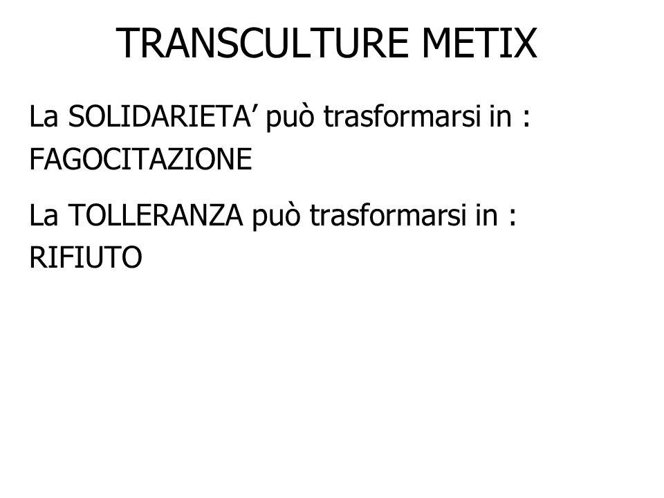 TRANSCULTURE METIX La SOLIDARIETA può trasformarsi in : FAGOCITAZIONE La TOLLERANZA può trasformarsi in : RIFIUTO