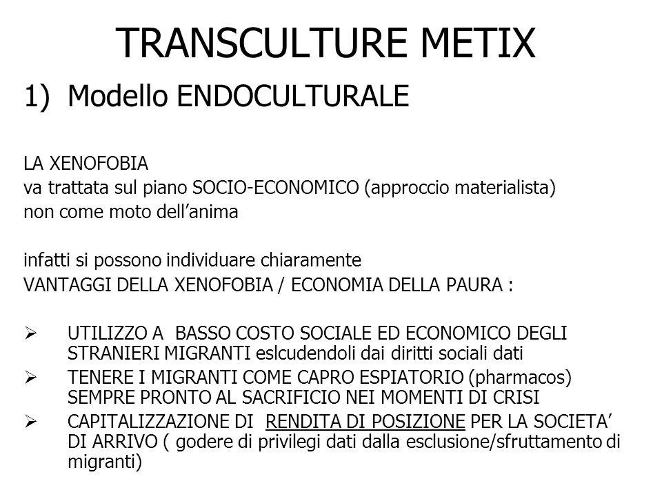 TRANSCULTURE METIX 1)Modello ENDOCULTURALE LA XENOFOBIA va trattata sul piano SOCIO-ECONOMICO (approccio materialista) non come moto dellanima infatti