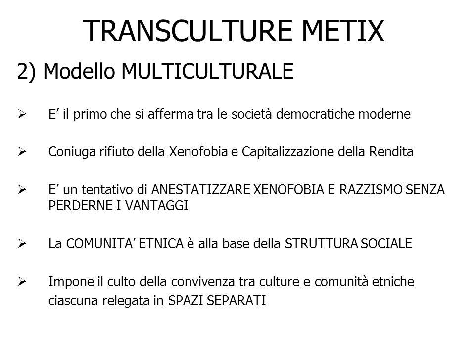 TRANSCULTURE METIX 2) Modello MULTICULTURALE E il primo che si afferma tra le società democratiche moderne Coniuga rifiuto della Xenofobia e Capitaliz