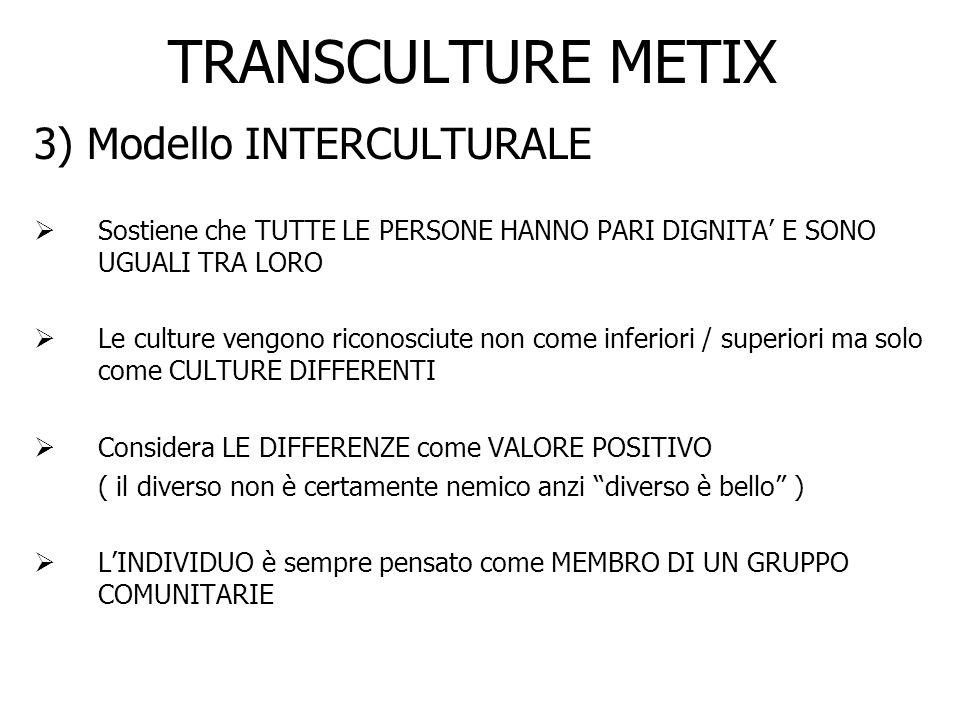 TRANSCULTURE METIX 3) Modello INTERCULTURALE Sostiene che TUTTE LE PERSONE HANNO PARI DIGNITA E SONO UGUALI TRA LORO Le culture vengono riconosciute n