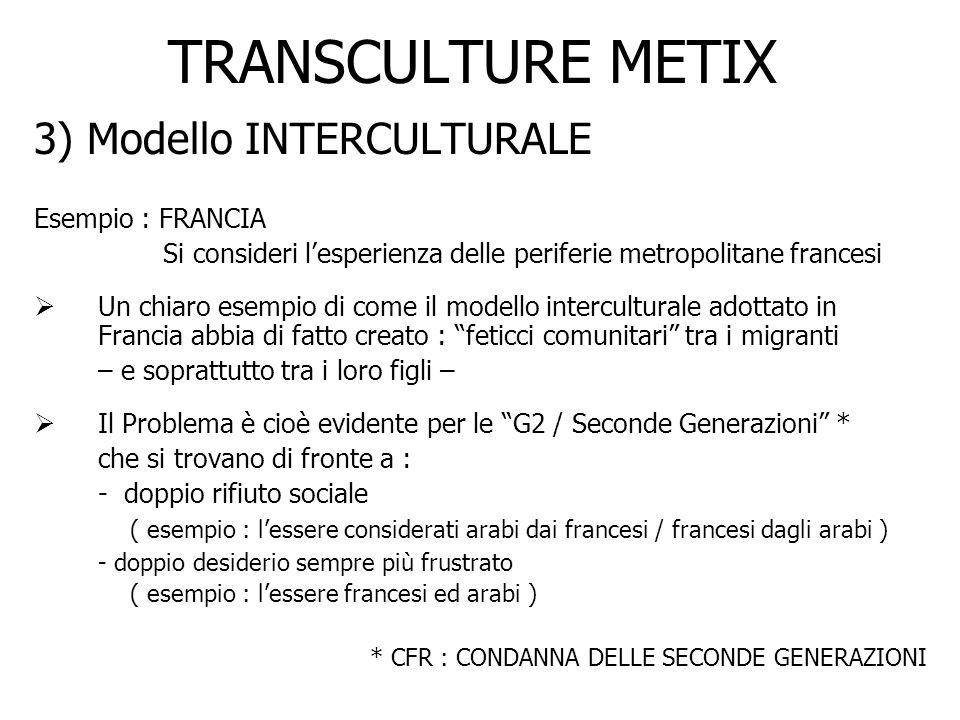 TRANSCULTURE METIX 3) Modello INTERCULTURALE Esempio : FRANCIA Si consideri lesperienza delle periferie metropolitane francesi Un chiaro esempio di co