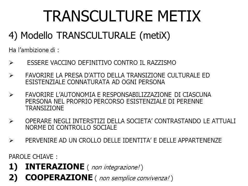 TRANSCULTURE METIX 4) Modello TRANSCULTURALE (metiX) Ha lambizione di : ESSERE VACCINO DEFINITIVO CONTRO IL RAZZISMO FAVORIRE LA PRESA DATTO DELLA TRA