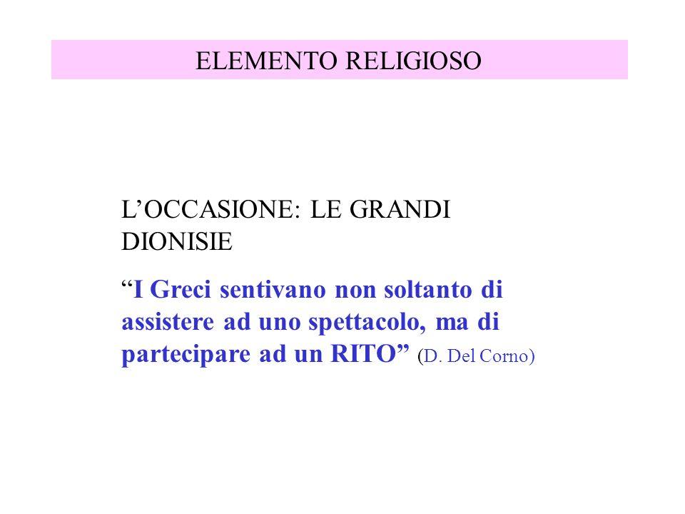 ELEMENTO RELIGIOSO LOCCASIONE: LE GRANDI DIONISIE I Greci sentivano non soltanto di assistere ad uno spettacolo, ma di partecipare ad un RITO (D. Del