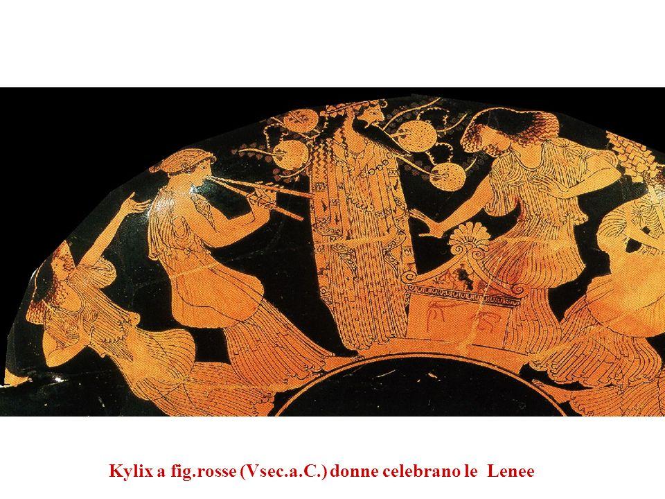 Kylix a fig.rosse (Vsec.a.C.) donne celebrano le Lenee