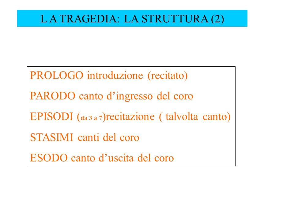 L A TRAGEDIA: LA STRUTTURA (2) PROLOGO introduzione (recitato) PARODO canto dingresso del coro EPISODI ( da 3 a 7 )recitazione ( talvolta canto) STASI