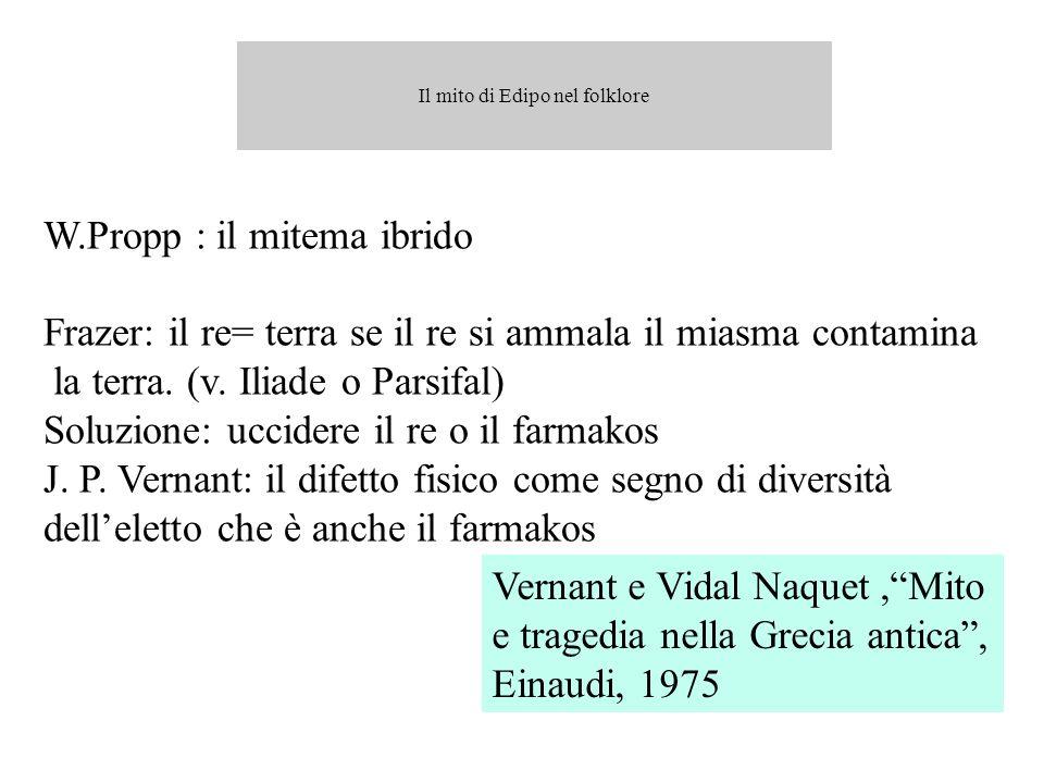 W.Propp : il mitema ibrido Frazer: il re= terra se il re si ammala il miasma contamina la terra. (v. Iliade o Parsifal) Soluzione: uccidere il re o il