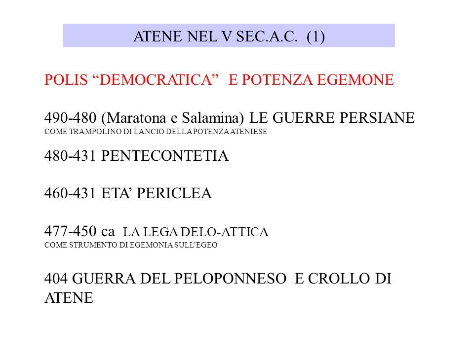 POLIS DEMOCRATICA E POTENZA EGEMONE 490-480 (Maratona e Salamina) LE GUERRE PERSIANE COME TRAMPOLINO DI LANCIO DELLA POTENZA ATENIESE 480-431 PENTECON