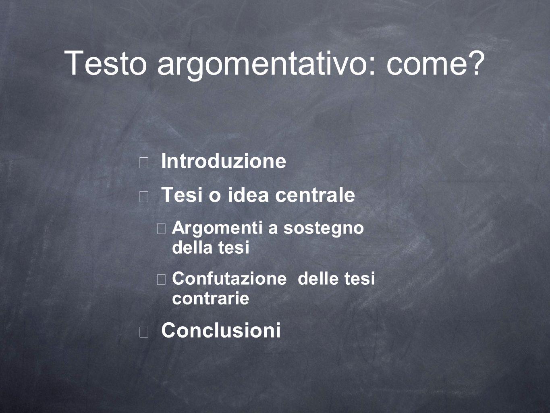 Testo argomentativo: come? Introduzione Tesi o idea centrale Argomenti a sostegno della tesi Confutazione delle tesi contrarie Conclusioni