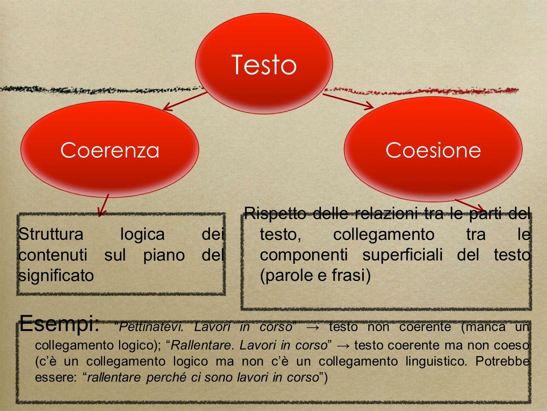 Testo Coerenza Coesione Esempi:Pettinatevi. Lavori in corso testo non coerente (manca un collegamento logico); Rallentare. Lavori in corso testo coere