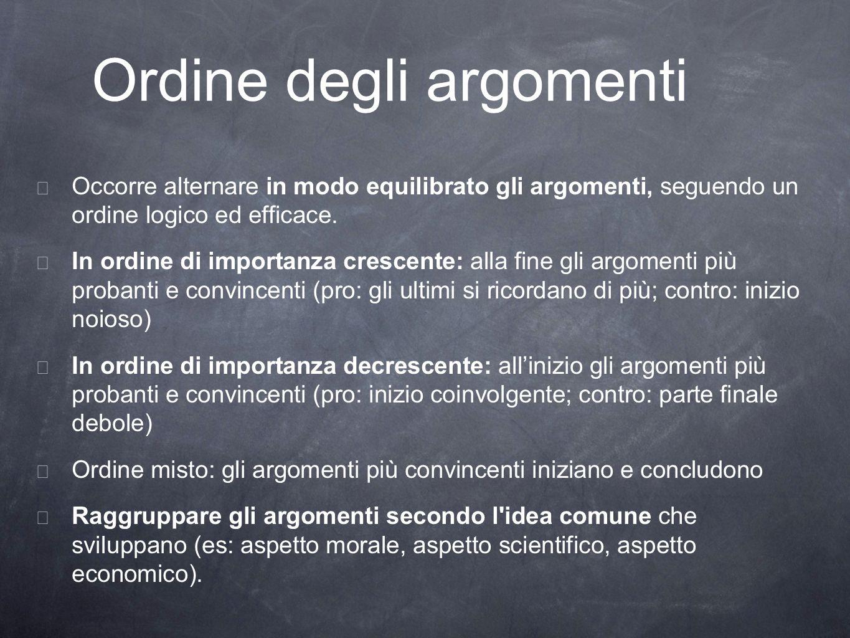 Ordine degli argomenti Occorre alternare in modo equilibrato gli argomenti, seguendo un ordine logico ed efficace. In ordine di importanza crescente: