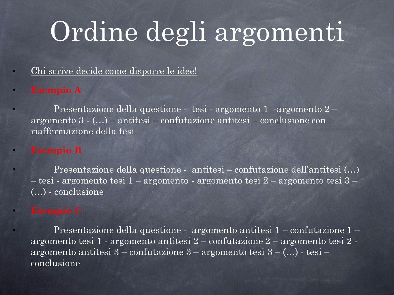 Ordine degli argomenti Chi scrive decide come disporre le idee! Esempio A Presentazione della questione - tesi - argomento 1 -argomento 2 – argomento