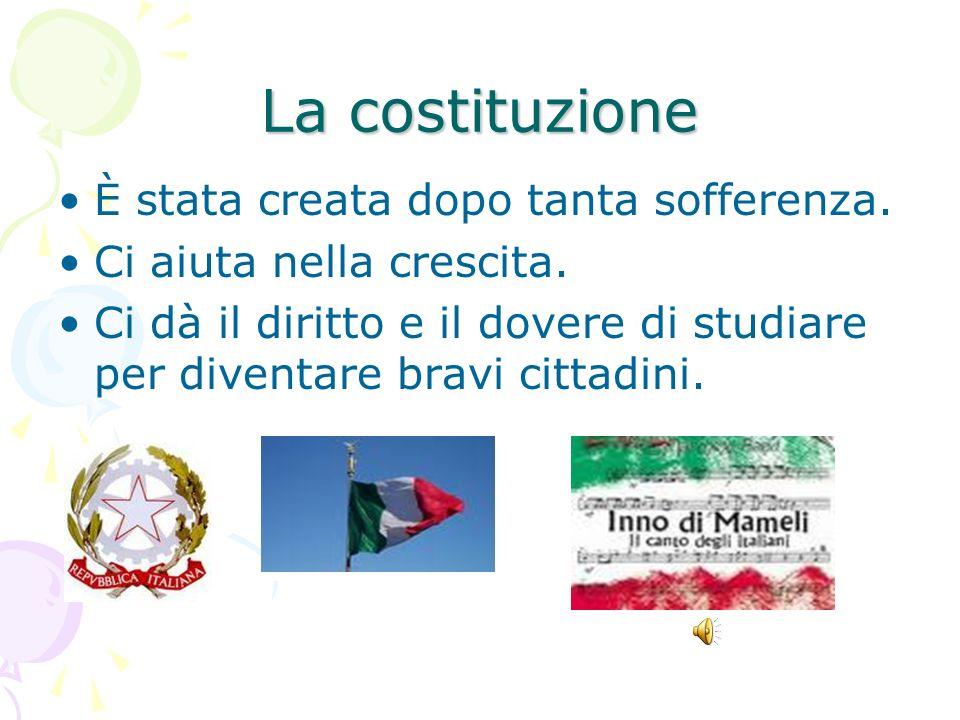 La Costituzione La costituzione La parte Introduttiva I principi fondamentali La prima parte si occupa dei diritti e doveri La seconda parte Riguarda l ordinamento della Repubblica