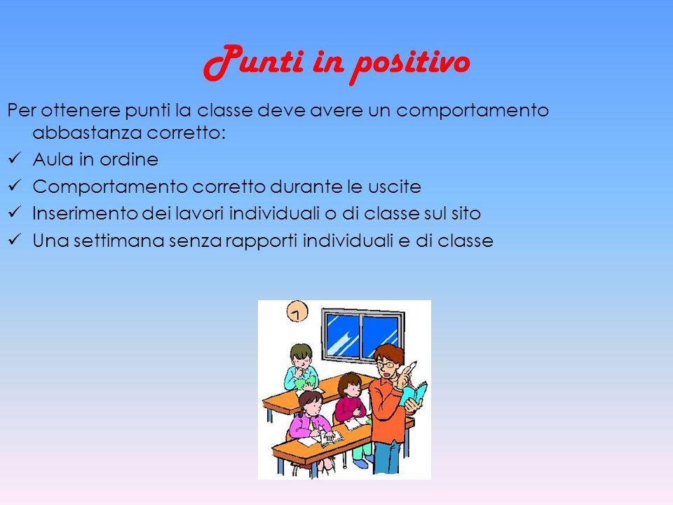 Punti in positivo Per ottenere punti la classe deve avere un comportamento abbastanza corretto: Aula in ordine Comportamento corretto durante le uscit