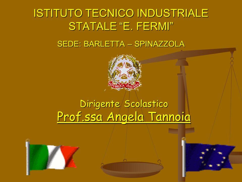 ISTITUTO TECNICO INDUSTRIALE STATALE E. FERMI SEDE: BARLETTA – SPINAZZOLA Dirigente Scolastico Prof.ssa Angela Tannoia