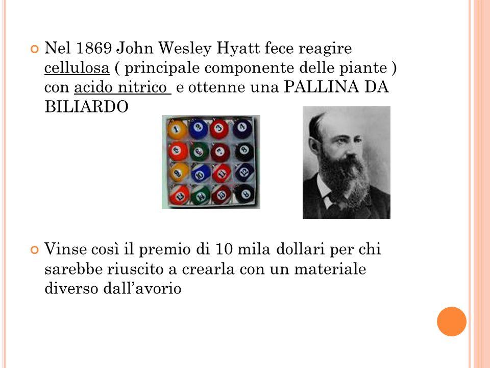 Nel 1869 John Wesley Hyatt fece reagire cellulosa ( principale componente delle piante ) con acido nitrico e ottenne una PALLINA DA BILIARDO Vinse cos