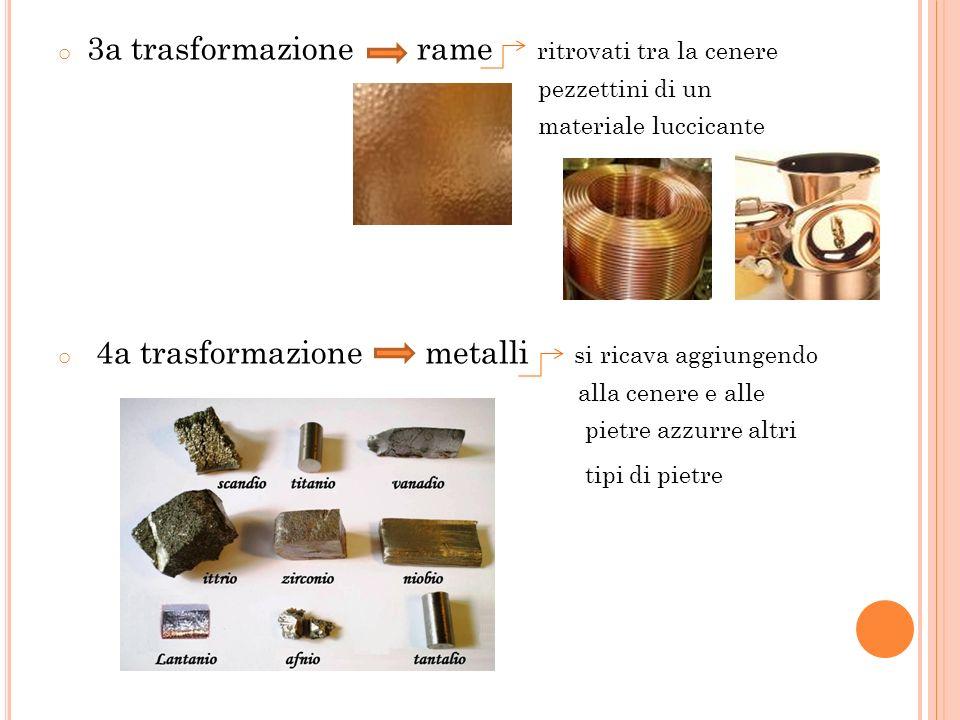 o 3a trasformazione rame ritrovati tra la cenere pezzettini di un materiale luccicante o 4a trasformazione metalli si ricava aggiungendo alla cenere e