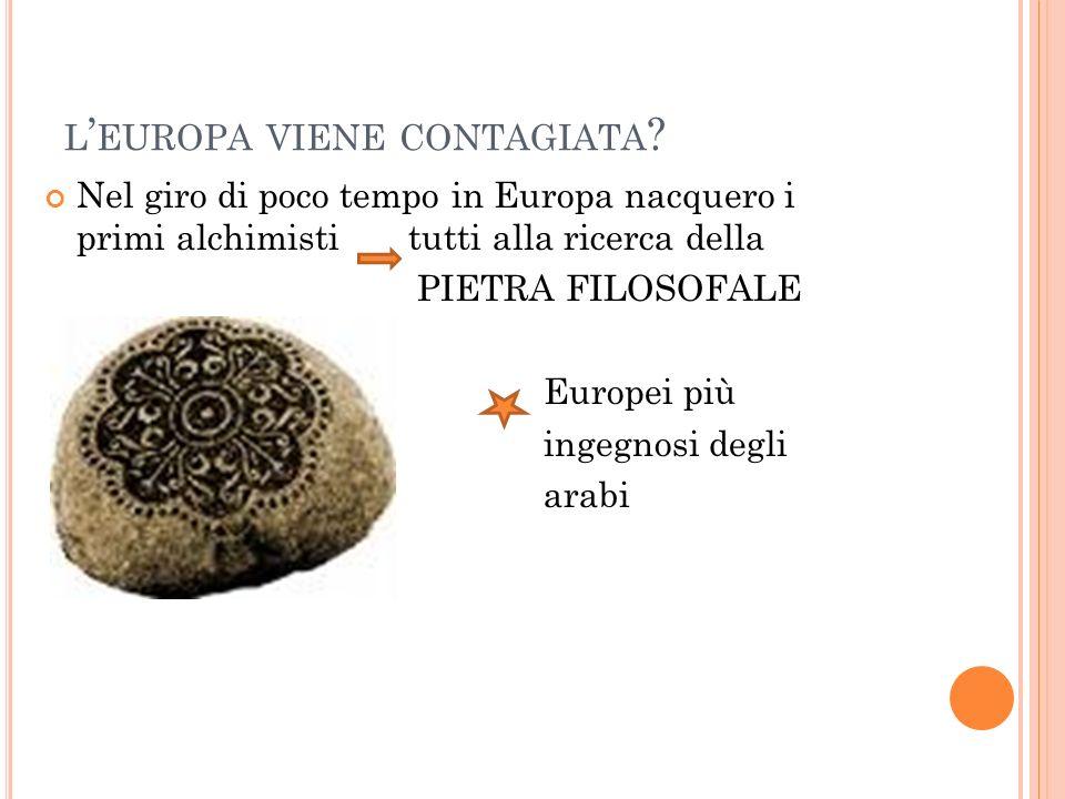 L EUROPA VIENE CONTAGIATA ? Nel giro di poco tempo in Europa nacquero i primi alchimisti tutti alla ricerca della PIETRA FILOSOFALE Europei più ingegn