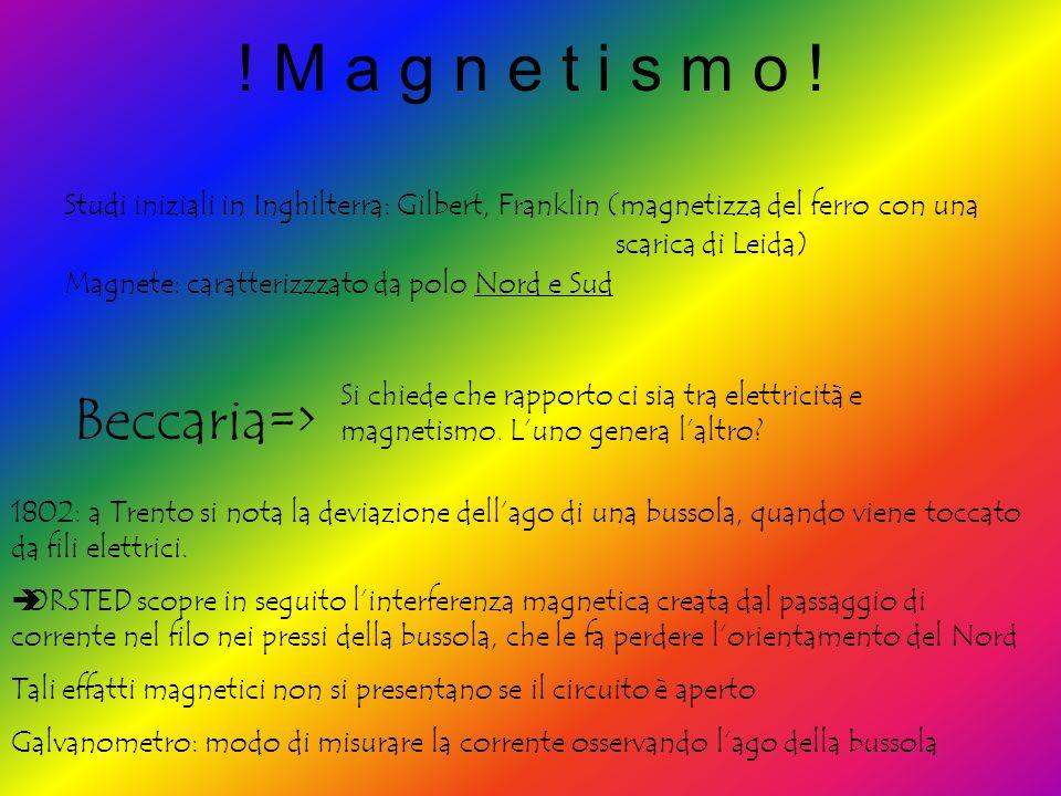 ! M a g n e t i s m o ! Studi iniziali in Inghilterra: Gilbert, Franklin (magnetizza del ferro con una scarica di Leida) Magnete: caratterizzzato da p