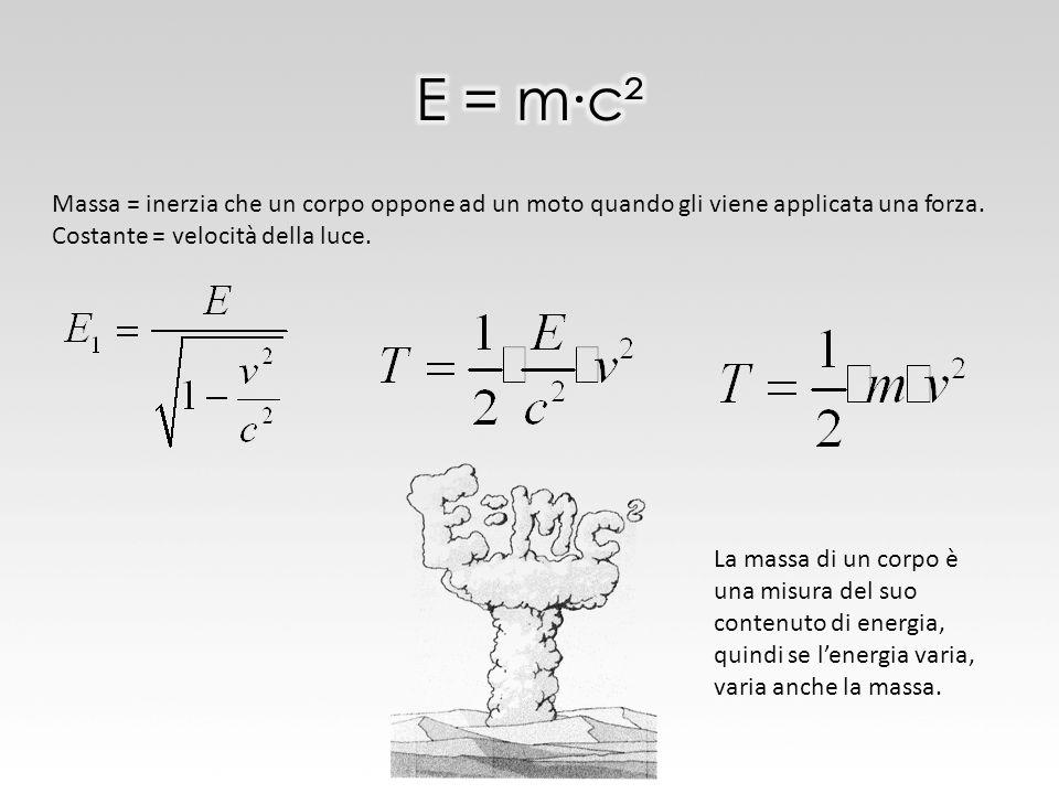 Massa = inerzia che un corpo oppone ad un moto quando gli viene applicata una forza. Costante = velocità della luce. La massa di un corpo è una misura