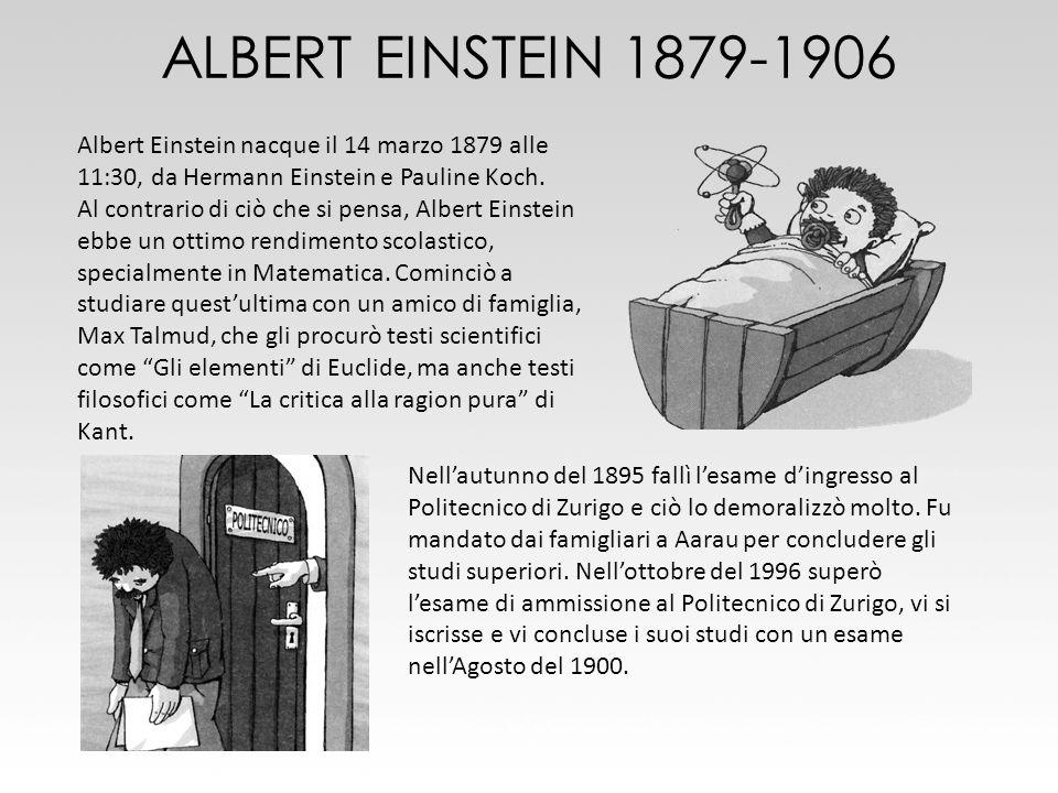 ALBERT EINSTEIN 1879-1906 Albert Einstein nacque il 14 marzo 1879 alle 11:30, da Hermann Einstein e Pauline Koch. Al contrario di ciò che si pensa, Al