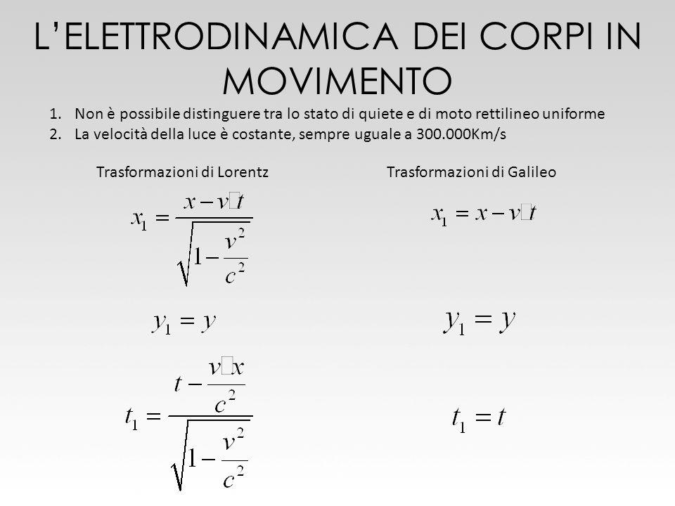 1.Non è possibile distinguere tra lo stato di quiete e di moto rettilineo uniforme 2.La velocità della luce è costante, sempre uguale a 300.000Km/s Tr