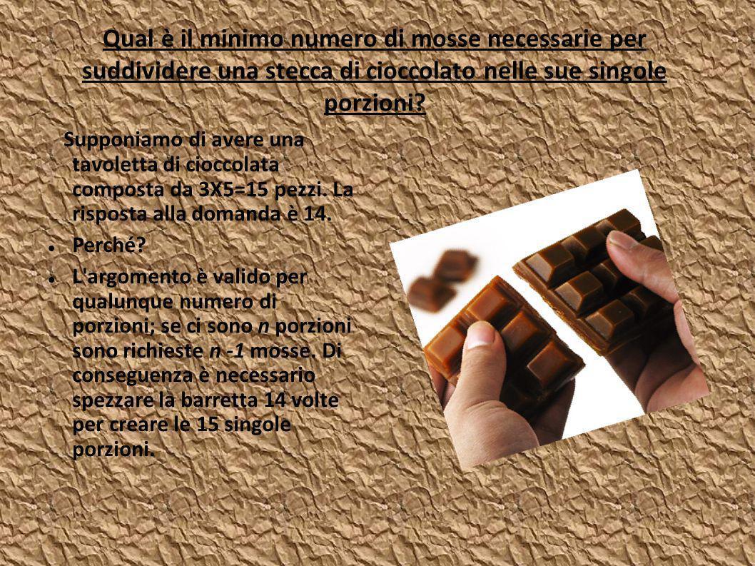 Qual è il minimo numero di mosse necessarie per suddividere una stecca di cioccolato nelle sue singole porzioni.