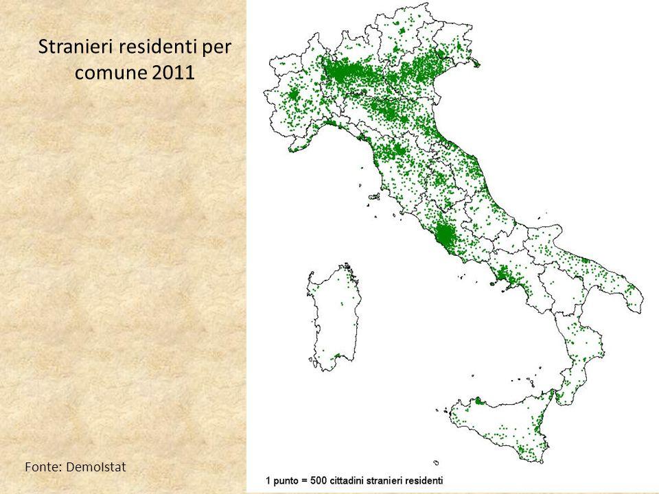 Stranieri residenti per comune 2011 Fonte: DemoIstat