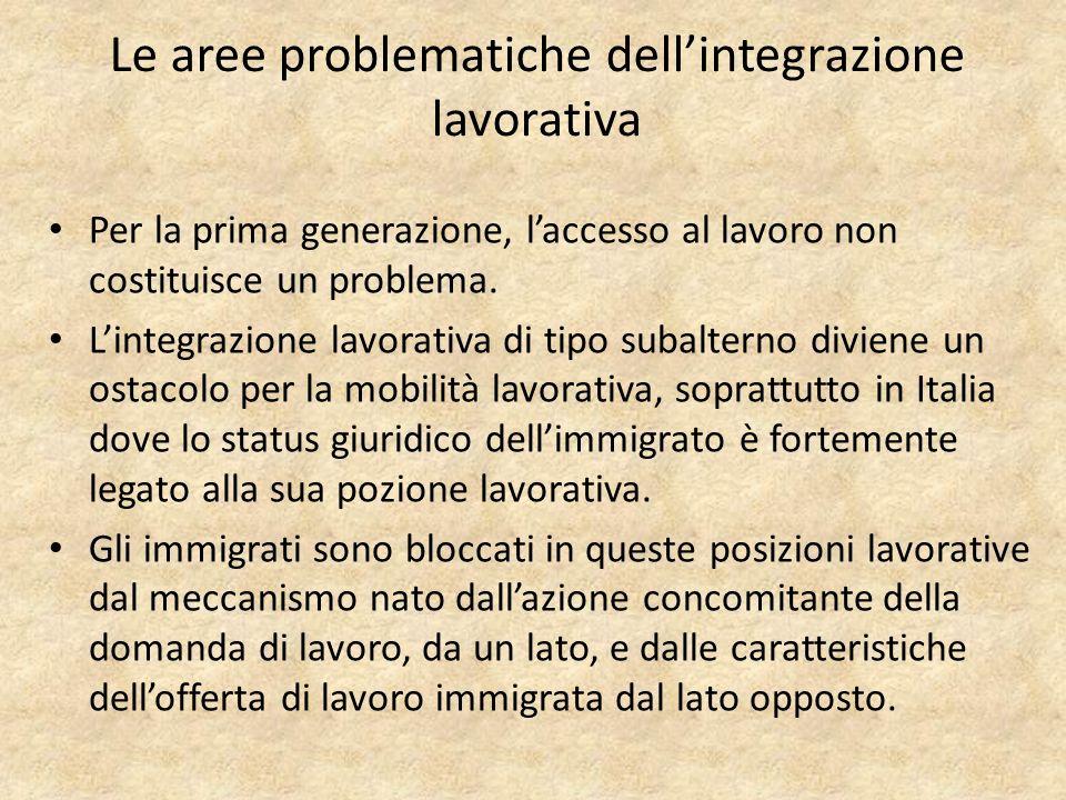 Le aree problematiche dellintegrazione lavorativa Per la prima generazione, laccesso al lavoro non costituisce un problema.