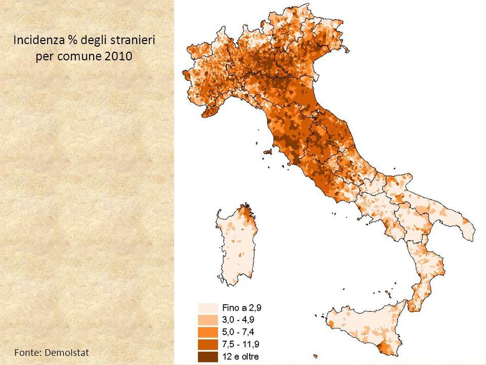 Incidenza % degli stranieri per comune 2010 Fonte: DemoIstat