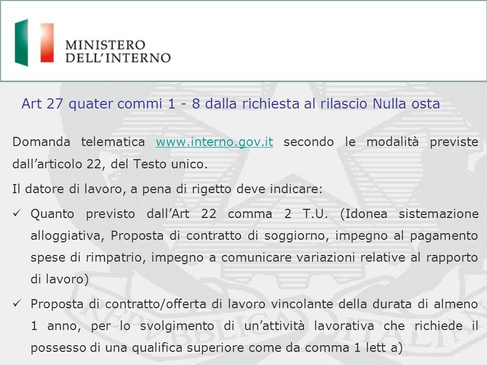 Domanda telematica www.interno.gov.it secondo le modalità previste dallarticolo 22, del Testo unico.www.interno.gov.it Il datore di lavoro, a pena di