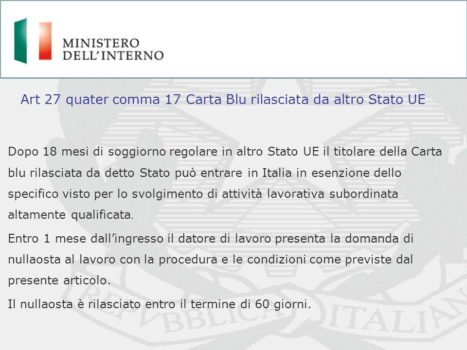 Dopo 18 mesi di soggiorno regolare in altro Stato UE il titolare della Carta blu rilasciata da detto Stato può entrare in Italia in esenzione dello sp