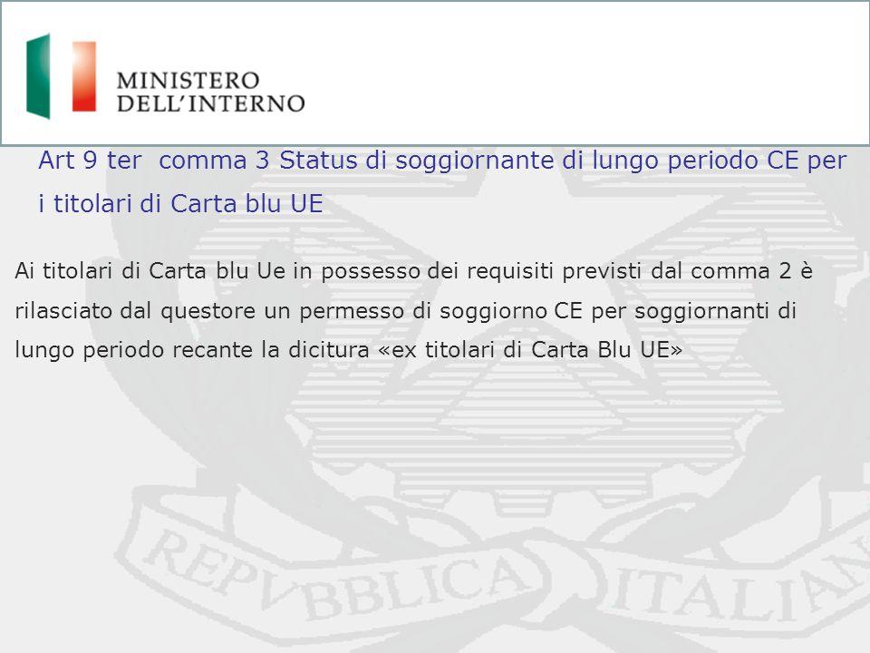 Ai titolari di Carta blu Ue in possesso dei requisiti previsti dal comma 2 è rilasciato dal questore un permesso di soggiorno CE per soggiornanti di l