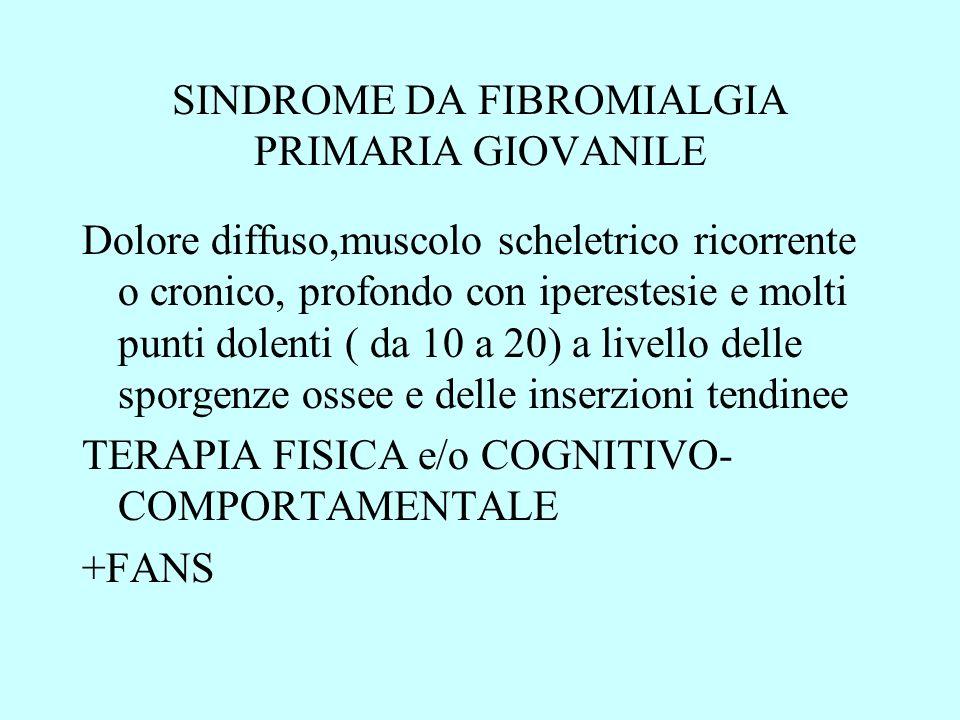 SINDROME DA FIBROMIALGIA PRIMARIA GIOVANILE Dolore diffuso,muscolo scheletrico ricorrente o cronico, profondo con iperestesie e molti punti dolenti (