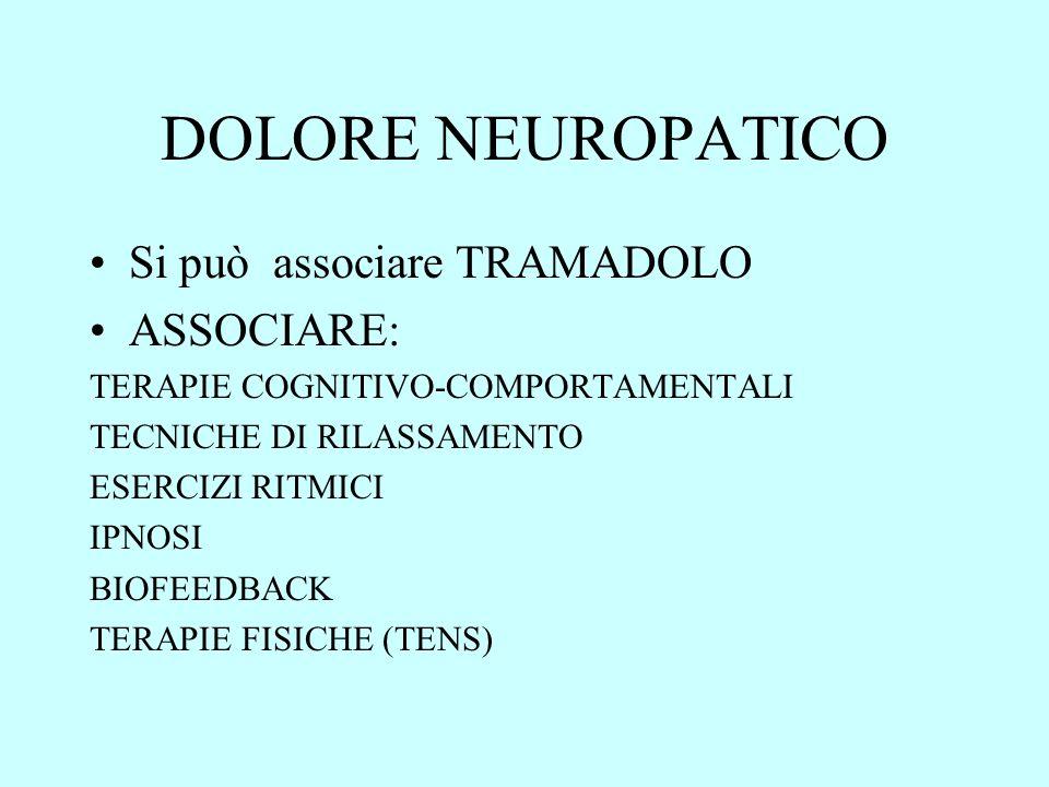 DOLORE NEUROPATICO Si può associare TRAMADOLO ASSOCIARE: TERAPIE COGNITIVO-COMPORTAMENTALI TECNICHE DI RILASSAMENTO ESERCIZI RITMICI IPNOSI BIOFEEDBAC