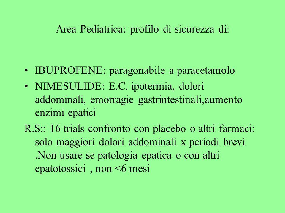 Area Pediatrica: profilo di sicurezza di: IBUPROFENE: paragonabile a paracetamolo NIMESULIDE: E.C. ipotermia, dolori addominali, emorragie gastrintest