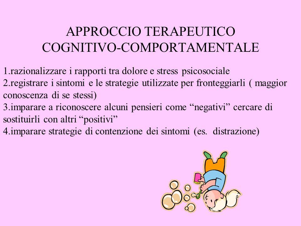 APPROCCIO TERAPEUTICO COGNITIVO-COMPORTAMENTALE 1.razionalizzare i rapporti tra dolore e stress psicosociale 2.registrare i sintomi e le strategie uti