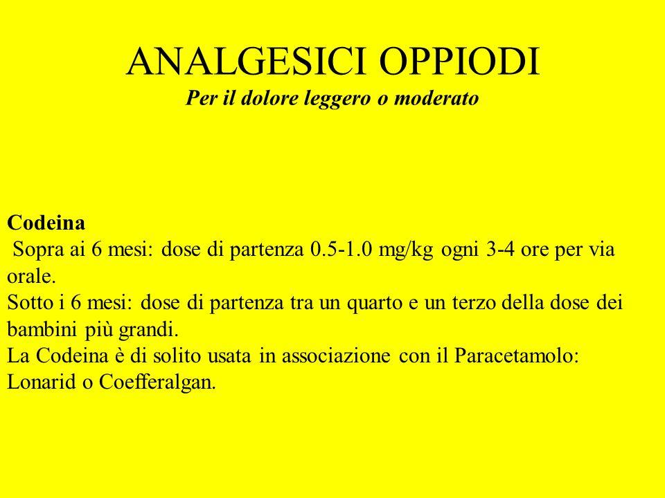 ANALGESICI OPPIODI Per il dolore leggero o moderato Codeina Sopra ai 6 mesi: dose di partenza 0.5-1.0 mg/kg ogni 3-4 ore per via orale. Sotto i 6 mesi