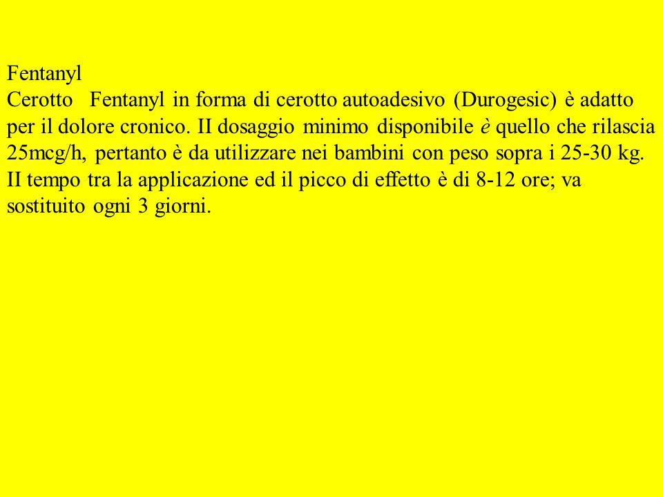 Fentanyl Cerotto Fentanyl in forma di cerotto autoadesivo (Durogesic) è adatto per il dolore cronico. II dosaggio minimo disponibile è quello che rila