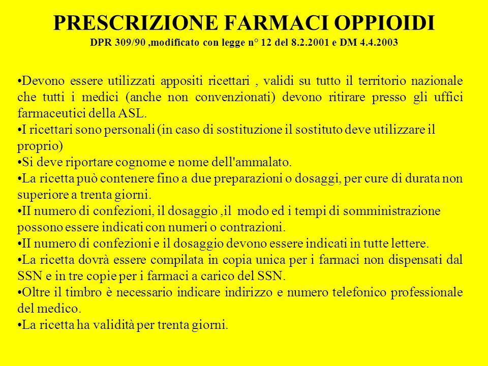PRESCRIZIONE FARMACI OPPIOIDI DPR 309/90,modificato con legge n° 12 del 8.2.2001 e DM 4.4.2003 Devono essere utilizzati appositi ricettari, validi su