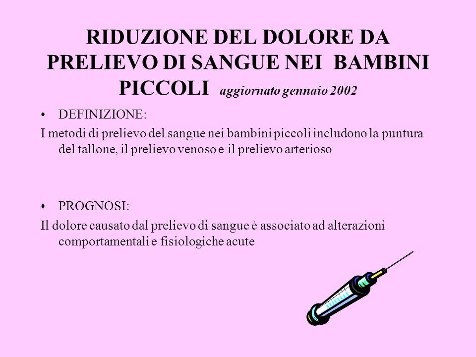 RIDUZIONE DEL DOLORE DA PRELIEVO DI SANGUE NEI BAMBINI PICCOLI aggiornato gennaio 2002 DEFINIZIONE: I metodi di prelievo del sangue nei bambini piccol