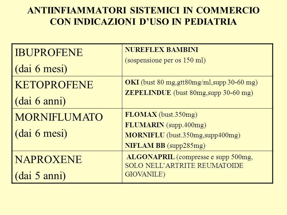 ANTIINFIAMMATORI SISTEMICI IN COMMERCIO CON INDICAZIONI DUSO IN PEDIATRIA IBUPROFENE (dai 6 mesi) NUREFLEX BAMBINI (sospensione per os 150 ml) KETOPROFENE (dai 6 anni) OKI (bust 80 mg,gtt80mg/ml,supp 30-60 mg) ZEPELINDUE (bust 80mg,supp 30-60 mg) MORNIFLUMATO (dai 6 mesi) FLOMAX (bust.350mg) FLUMARIN (supp.400mg) MORNIFLU (bust.350mg,supp400mg) NIFLAM BB (supp285mg) NAPROXENE (dai 5 anni) ALGONAPRIL (compresse e supp 500mg, SOLO NELLARTRITE REUMATOIDE GIOVANILE)