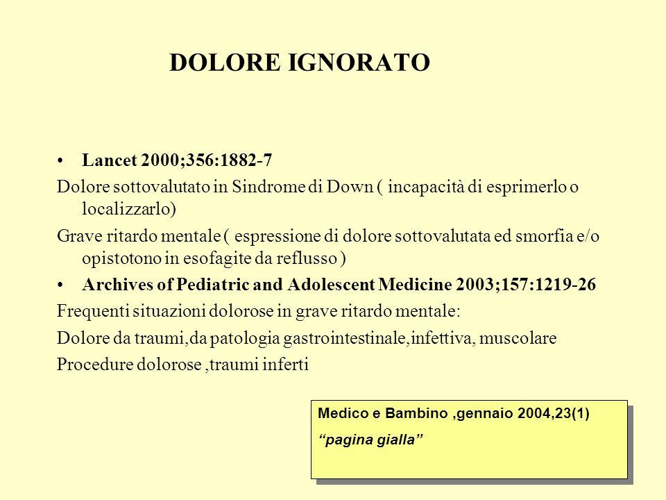 DOLORE IGNORATO Lancet 2000;356:1882-7 Dolore sottovalutato in Sindrome di Down ( incapacità di esprimerlo o localizzarlo) Grave ritardo mentale ( esp