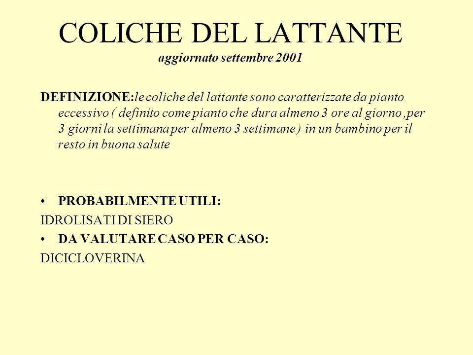 COLICHE DEL LATTANTE aggiornato settembre 2001 DEFINIZIONE:le coliche del lattante sono caratterizzate da pianto eccessivo ( definito come pianto che