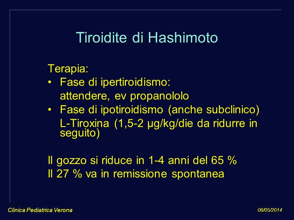 06/05/2014 Clinica Pediatrica Verona Tiroidite di Hashimoto Terapia: Fase di ipertiroidismo:Fase di ipertiroidismo: attendere, ev propanololo attender