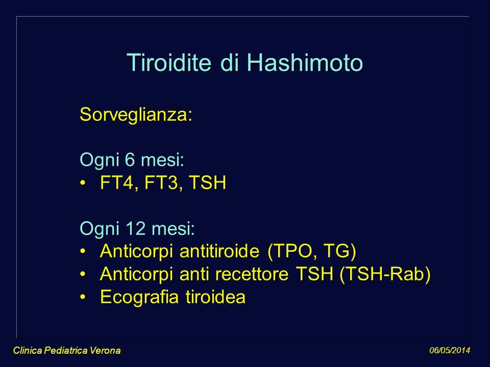 06/05/2014 Clinica Pediatrica Verona Tiroidite di Hashimoto Sorveglianza: Ogni 6 mesi: FT4, FT3, TSHFT4, FT3, TSH Ogni 12 mesi: Anticorpi antitiroide