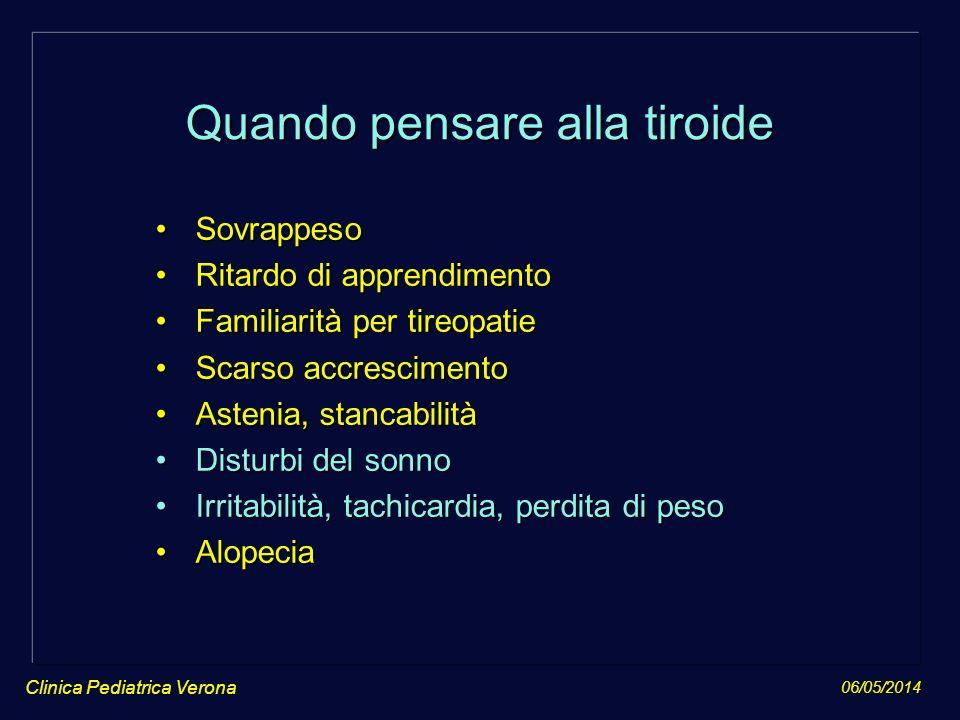 06/05/2014 Clinica Pediatrica Verona Quando pensare alla tiroide SovrappesoSovrappeso Ritardo di apprendimentoRitardo di apprendimento Familiarità per