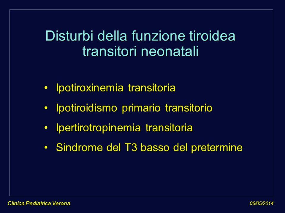 06/05/2014 Clinica Pediatrica Verona Disturbi della funzione tiroidea transitori neonatali Ipotiroxinemia transitoriaIpotiroxinemia transitoria Ipotir