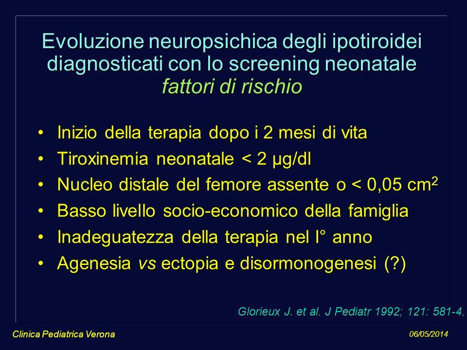 06/05/2014 Clinica Pediatrica Verona Evoluzione neuropsichica degli ipotiroidei diagnosticati con lo screening neonatale fattori di rischio Inizio del